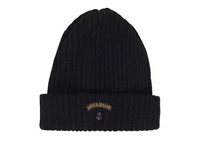 PAUL & SHARK Wool Beanie BRETAGNE Hat in BLACK RRP £65 C0P712 011