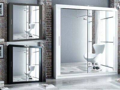 Double Mirror Sliding Door Wardrobe DAKO 3 Optional LED SIX COLOURS - FIVE SIZES