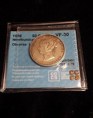 1898 Newfoundland 50 Cents. Obverse 1, Small W. CCCS Certified VF-30