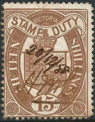 VICTORIA 1879-1900 STAMP DUTY Arms Type 15/- Brown ACSC F24a cv$290 fine use mss