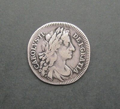 Charles Ii 1683 Silver Shilling - Fourth Bust - Very Rare - Gf