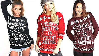 Womens Merry Christmas Ya Filthy Animal Jumper Ladies Knitted Sweater Xmas Party
