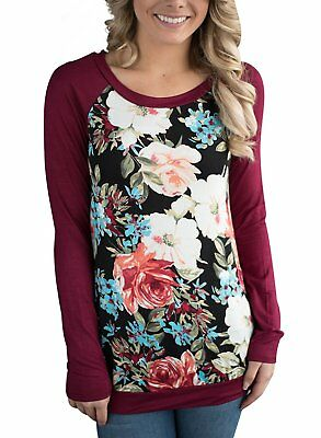 5564424ee3c65 HOTAPEI Women Casual Floral Print Long Sleeve Round Neck Shirts Blouse Tops