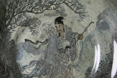 Fine  Antique Japanese Hand Reverse Painted Dish Under Glass In Bronze Casing