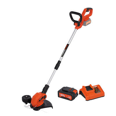 Powerplus 40v Cordless Grass Trimmer Telescopic Shaft Li-Ion Battery & Charger
