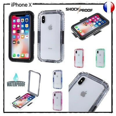Etui Coque Housse étanche Waterproof Shockproof Case Cover iPhone X (10) 5.8""