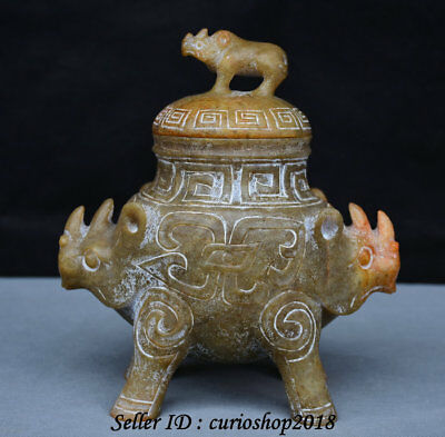 """9"""" Old China Hongshan Cultural Jade Double Cattle Ox Drinking Vessel Pot Jar Cup"""