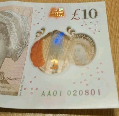 £10 Note AA01 0 Polymer Low Digit Rare Collectible. AA01 020801