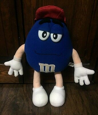"Cute Large Blue ""M & M"" w/Red Ball Cap 16"" Collectible Plush GUC"
