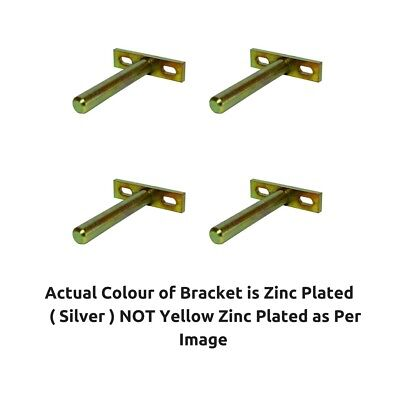 Concealed Hidden Floating Shelf Support Brackets Plate Fixings 80mm Rod 4 PACK