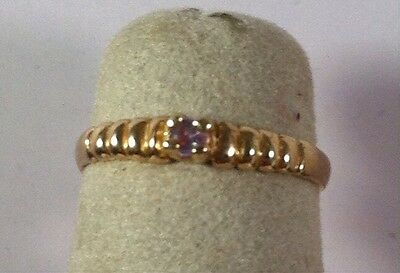Child's 10K Ylw Solid Birthstone Ribbed Baby Ring Pink Stone Size 2 June or Oct