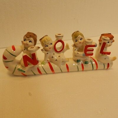 Vintage Relco Noel Candy Cane Angels Christmas Candle Holder. Very Cute!