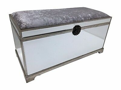 New stool, trunk, mirrored,  lift up lid, upholstered, 100l x 53h x 47d