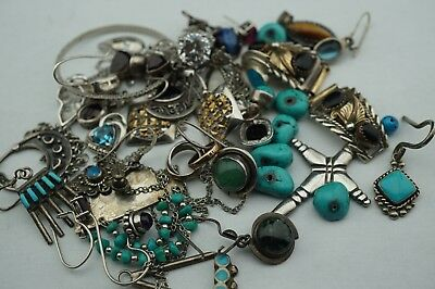 Lot of antique /vintage sterling silver with turquoise stones part or repaire