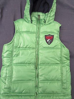 Boys Pumpkin Patch green puffer vest with hood  Size 5