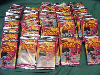 75 SEALED PACKETS of topps TROLLS  TRADING CARDS