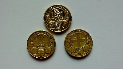 Capital Cities £1 One Pound Coins X 3 Cardiff, London And Belfast