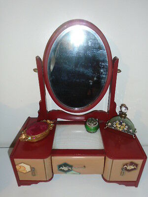 Art Deco Salesman Sample Miniature Lacquer Vanity Dresser Mirror Hand Painted