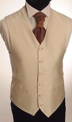 Cw38.mens/boys Ivory And Gold Ribbed Wedding Waistcoat / Dress/ Suit / Party