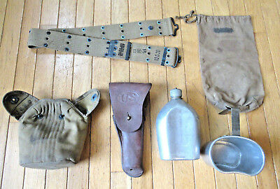 Vintage U.S.M.C. Holster, Canteen w/Cover, Canteen Cup, Cartridge Belt and Bag