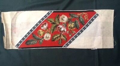 Circa 1880 Victorian Beaded Panel Worked With Flowers And Leaves. 30Cm X 20Cm
