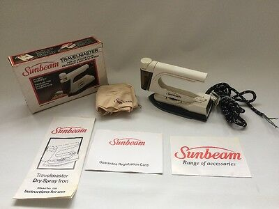 "Vintage Sunbeam Steam Travel Iron - Detachable Handle - Approx 8"" Long Model 130"