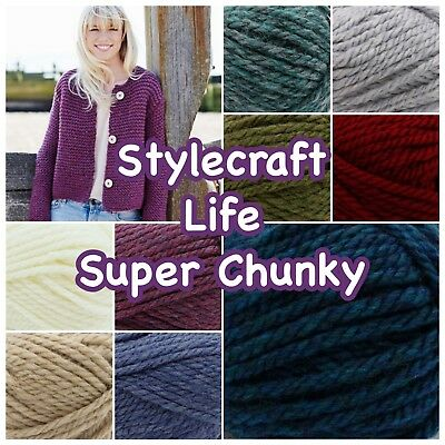 Stylecraft LIFE SUPER CHUNKY Acrylic and Wool Knitting Yarn 100g Ball