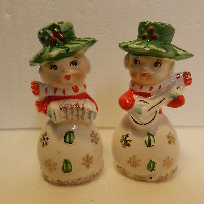 VTG Pair of Snow Girls Salt & Pepper Shakers, Green Has, Playing Instruments.