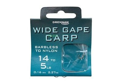 Drennan Barbless Wide Gape Carp hooks to nylon carp,coarse fishing