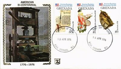Dr Jim Stamps Combo American Bicentennial Silk Cachet Fdc Grenada Cover 1976