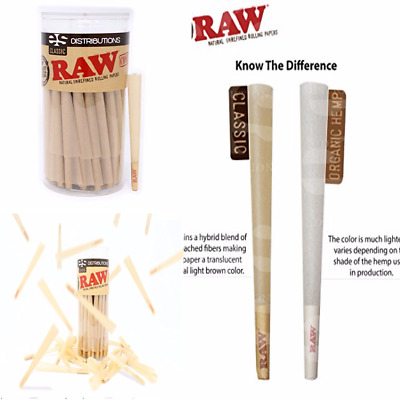 100 Pack Raw King Size Pure Hemp Pre Rolled Cones Weed Joint Smoking With Filter