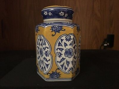 Vtg Chinese Yellow And Blue Porcelain Hexagonal Marked Tea Caddy Jar
