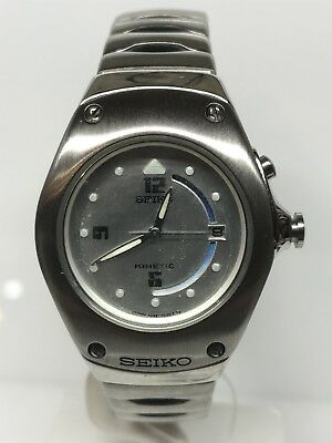 Seiko Watch Kinetic Vintage Steel/Rubber Wr100 33mm Discounted New