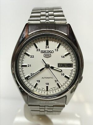 Seiko Watch 5 Vintage Automatic Steel Date Complete 34mm Discounted New