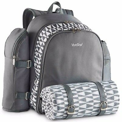 VonShef 4 Person Picnic Backpack Bag - Grey with Blanket and 29 Piece Dining Set
