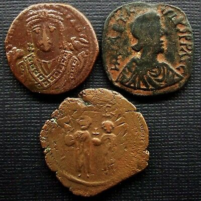 Byzantine, Lot of 3 AE Folles, 5th-6th century AD.