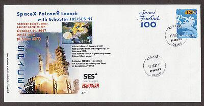 FDC cover space SpaceX Falcon 9FT launch EchoStar 105/SES-11. Cancel 12-10-2017