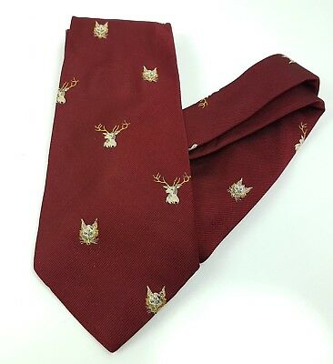 Vintage Foxhounds Stag Game Hunt Fox Hunting Tie Traditional style Burgundy (w)