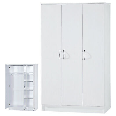 White High Gloss Two Tone Triple Mirrored Wardrobe 3 Door Large Furniture Unit