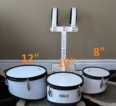 NEW Berteau Drums Marching Quad Drums With Carrier White Color Strong, (Snare)