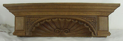 Antique wood Oak shelf pediment mantel shell st jacque