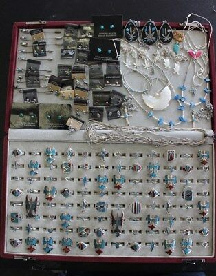 172 pc NATIVE AMERICAN LOT 96 RINGS 10 PINS 30 EARRINGS 36 NECKLACE VINTAGE 70'S