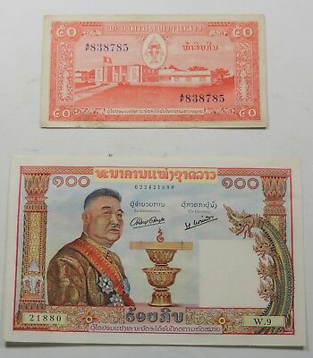 Laos Banque Nationale Du Laos 100 Cent Kip Note and 50 Kip Note