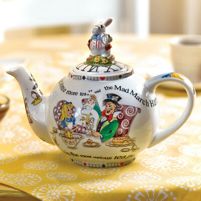 Alice in Wonderland Teapot - Porcelain 2 Cup Capacity - White
