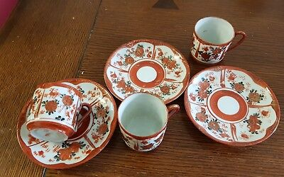 Antique set of 3 Japanese Kutani coffee cans and saucers