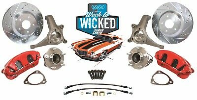 "70-81 Camaro C5 Corvette 13"" Disc Brake Kit Tall Spindle Kit Red Calipers"