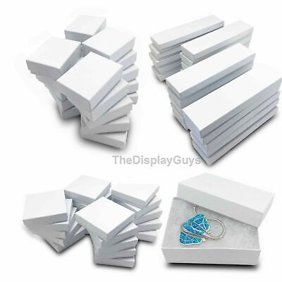 12 pcs White Swirl Cotton Filled Thick Jewelry Gift  Boxes With Variety Of Sizes