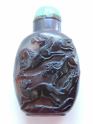 """Chinese Agate Bottle """"Eight Horses"""" with Turquoise Cap"""