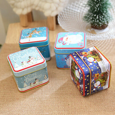 Christmas Gift Box Santa Snowman Iron Paper Xmas Party Boxes For Candy Cakes New