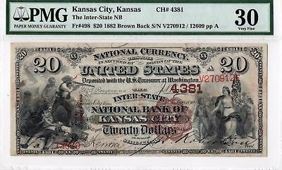 1882 $20 Twenty Dollar National Bank Note PMG 30 VF Brown Back